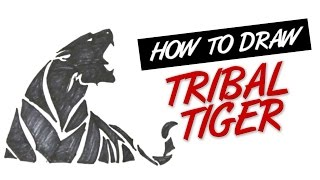 How to draw tribal tiger tattoo design #4