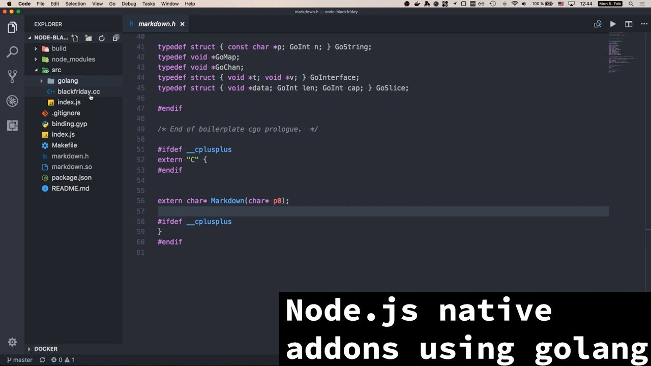 BxJS - Building Node js native addons using golang