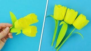 Как сделать тюльпаны из бумаги за 2 минуты
