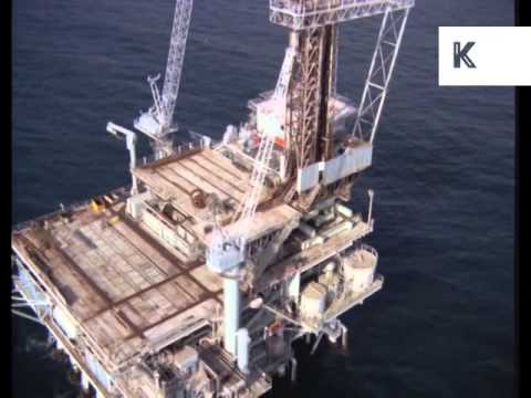 Helicopter Aerial Offshore Oil Platform, 1960s/ 1970s Colour Archive Footage