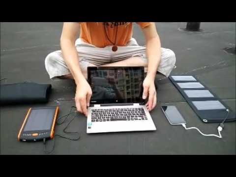 solar phone charger solar laptop charger w/ battery bank