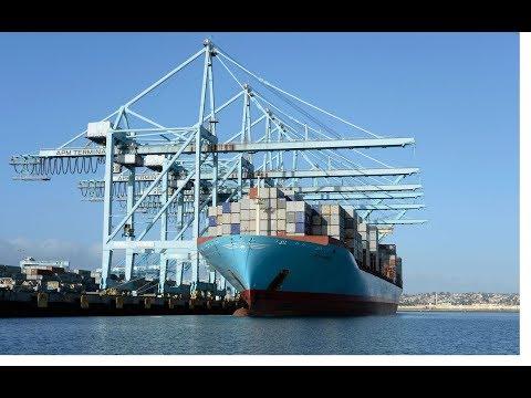 big cargo ship landing harbor on krishnapatnam port   India largest port on the Horizon