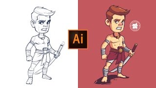 Adobe Illustrator-Prozess - | Khmer-Krieger Charakter Illustration.