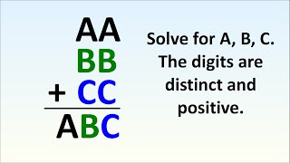 If AA + BB + CC = ABC, What Are A, B and C?