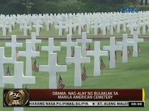 24 Oras: Obama, nag-alay ng bulaklak sa Manila American Cemetery