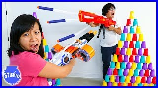 Baixar Nerf Battle Blasters Review Challenge and Target Practice !!