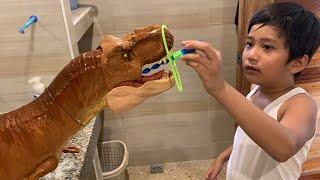 Trex taking a nice bath dinosaurs for kids
