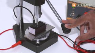 Etchdrop metal marking system with stand