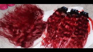 ❤ Sunlight Human Hair Unboxing Review + How I Dyed My Bundles & Frontal RED  ❤