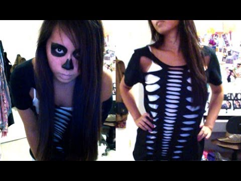Skeleton Halloween DIY Costume u0026 Makeup - Salinabear Cut Up T-Shirt  sc 1 st  YouTube & Skeleton Halloween DIY Costume u0026 Makeup - Salinabear Cut Up T-Shirt ...