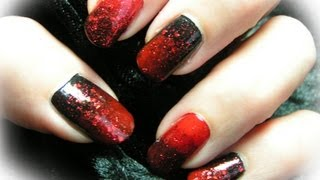 Creepy, Scary And Spooky Halloween Nail Art Tutorial red black DIY step by step Ombre Nails