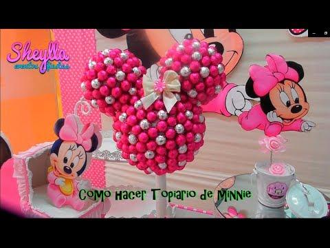 Minnie, Topiario de chocolate, cabeza de minnie de chocolate, decoración para fiesta Infantil