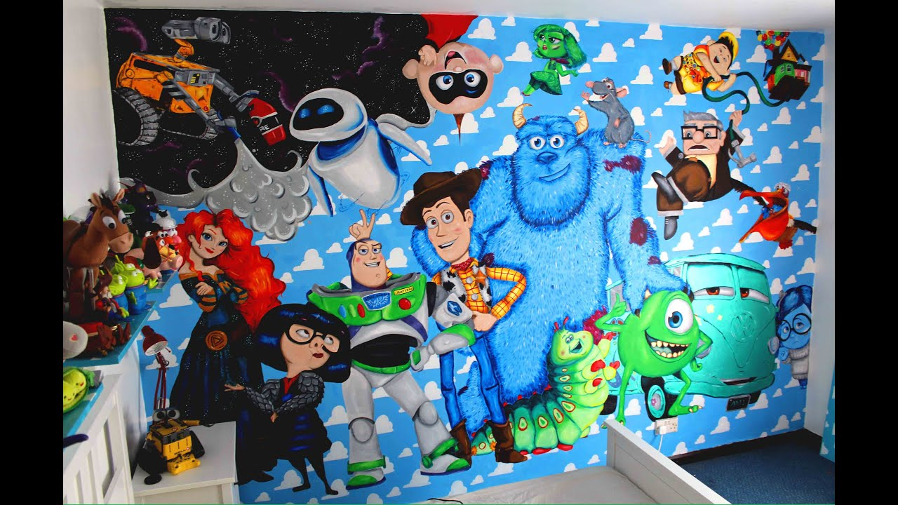 Disney pixar wall mural youtube for Disney mural wallpaper