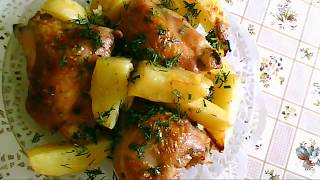 Куриные бедра с картошкой, запеченные в рукаве в духовке