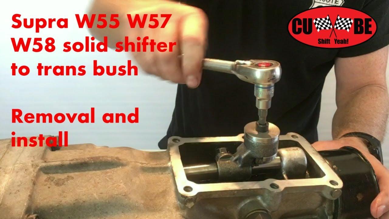 supra w55 w57 w58 shifter to gearbox solid bush repair kit cube [ 1280 x 720 Pixel ]