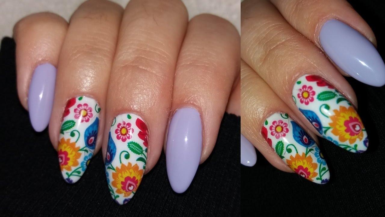 Folk Nails Nail Art Naklejki Wodne Paznokcie Hybrydowe Youtube