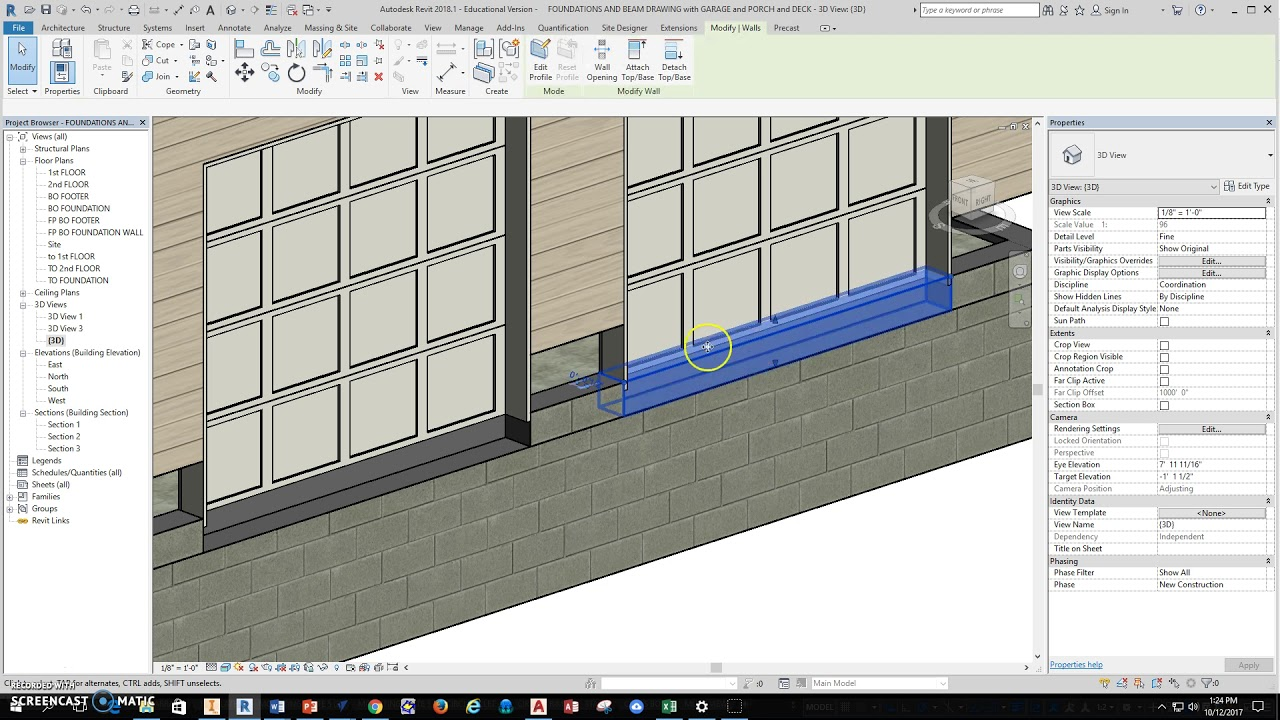 REVIT  Garage Door Install With Concrete Slab Detail