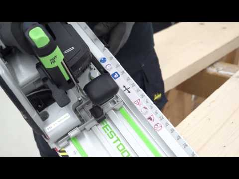Festool TV-UK HKC 55 and Cross cutting guide rail for wood construction. Festool system approach