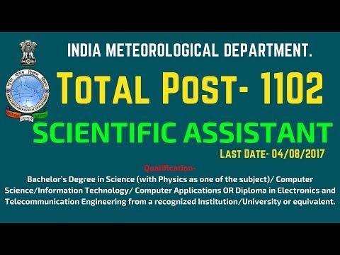Scientific Assistant Recruitment in Meteorological Department - 1102 Post