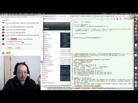 JavaScript npm webpack live coding, giant rant on modern JavaScript. 2019-10-31
