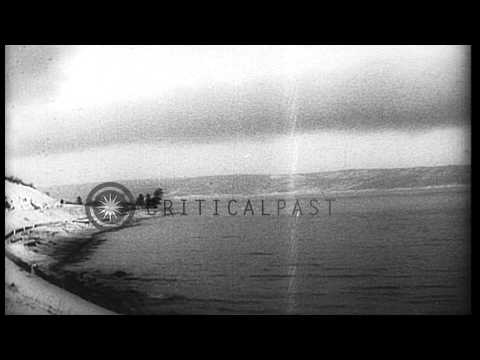 View of  Lake Baikal from a moving train in Siberia. HD Stock Footage