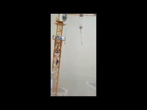 Астана. Ураган. Башенный кран / видео из кабины