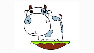 How to Draw Funny Cow Cartoon   Learn Drawing and Coloring Page for Children or Kids