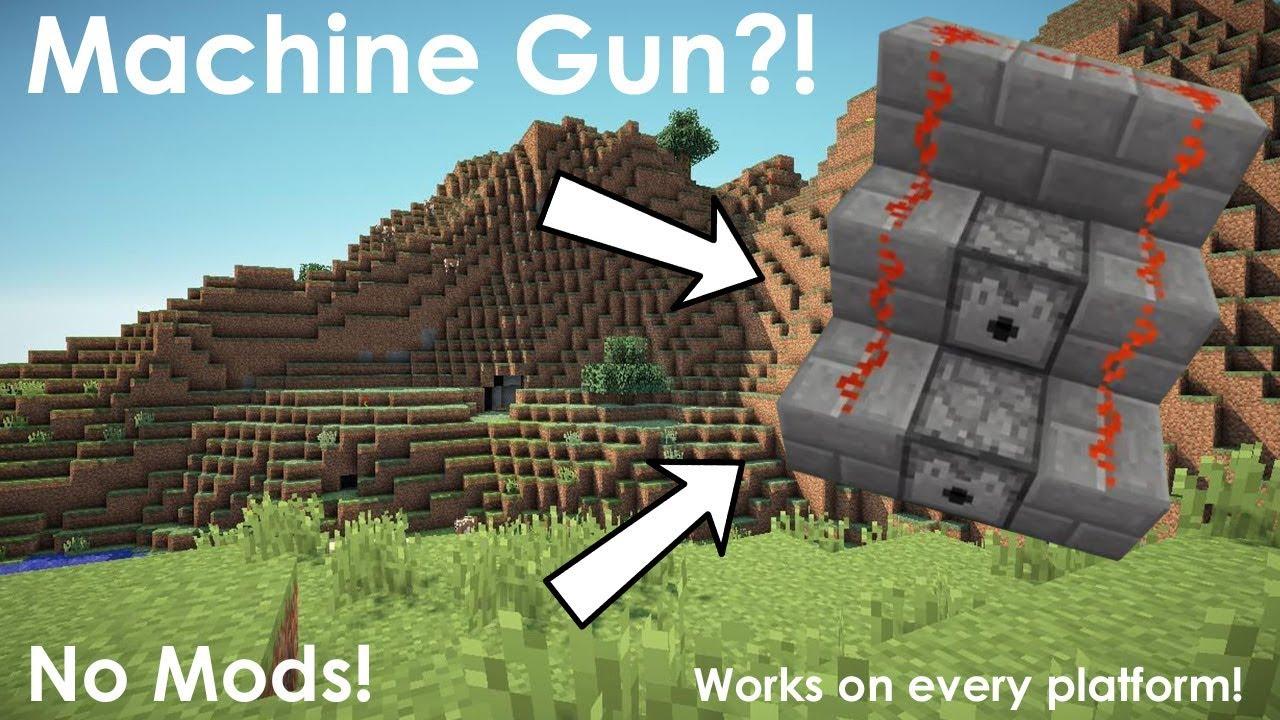Minecraft How to Make a Machine Gun (No Mods) YouTube