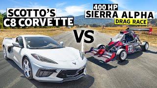 homepage tile video photo for C8 Corvette Races a Turbo Hayabusa Powered Sierra Alpha Racecar // This vs. That