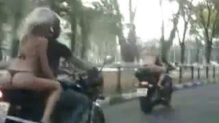 Girls in bikinis on motorcycles. Девушки в бикини на мотоциклах