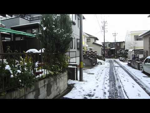 It's Snowing! In Toyota city, Aichi prefecture, Japan.