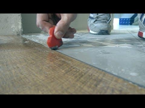 Как стыковать плитку и ламинат без порожка
