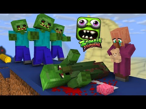 Monster School: ZOMBIE TSUNAMI CHALLENGE PART 2 - Minecraft Animation thumbnail