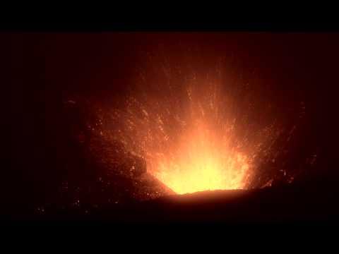 Volcanic Eruption at night - Iceland