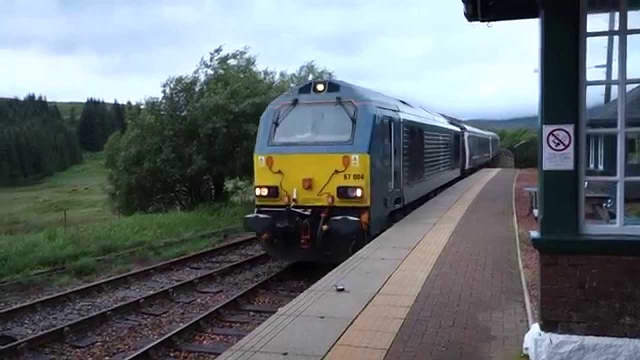 Class 67 With Caledonian Sleeper In Rannoch Scotland West Highlands 9 August 2015