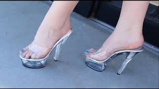 Review Pleaser Kiss-201SD Clear Slide On 6 Inch High Heel Sandals With Rhinestones