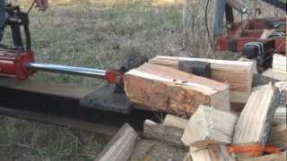Homemade Tractor Pto Mount Woodsplitter In Action..