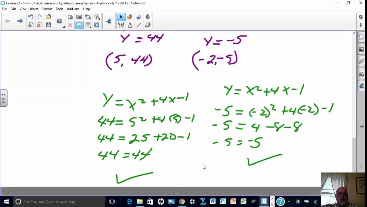 Lesson 22 - Solving Circle-Linear and Quadratic-Linear Systems of ...