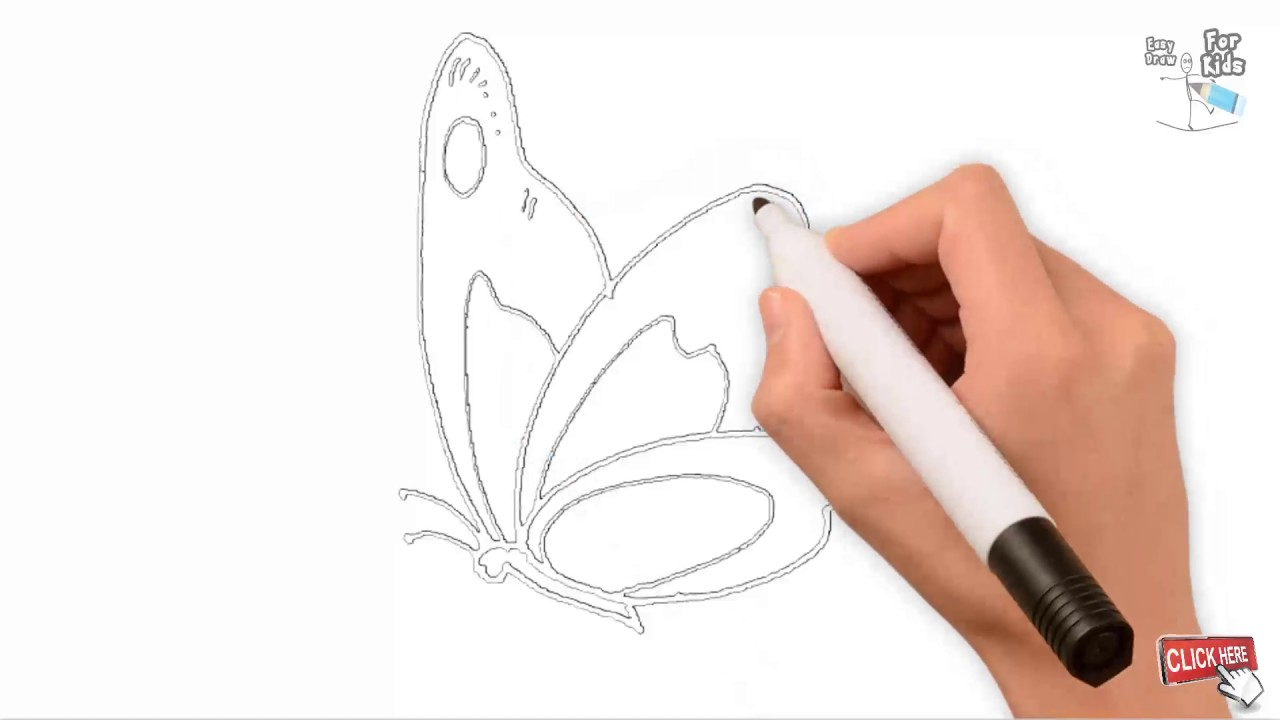 Outline Draw A Butterfly Easy Step By Step Draw Easy For Kids