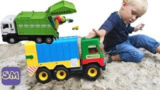 Как работает мусоровоз? I Познавательное видео для малышей Рабочие машины I Спецтехника для детей.