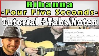 ★Rihanna - FOUR FIVE SECONDS  Easy Guitar Lesson + Tabs/Chords | ChristiansHowToPlays