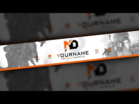 CSGO YouTube Banner Template - Asiimov - Free Download (PSD)