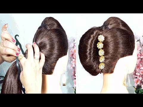 New French Bun Hairstyle trick with magic stick   french roll   french twist haistyle   hairstyles thumbnail