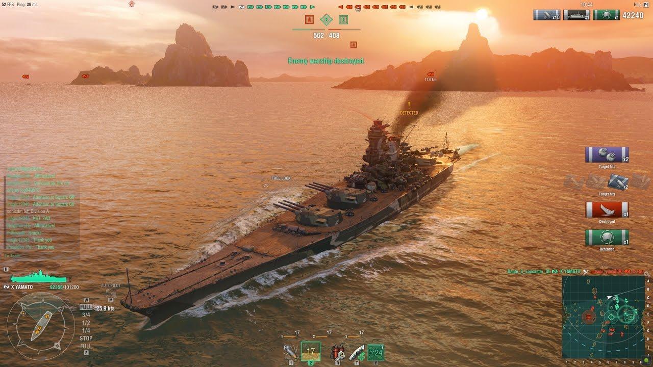 World Of Warships Yamato Gameplay 12 07 2016