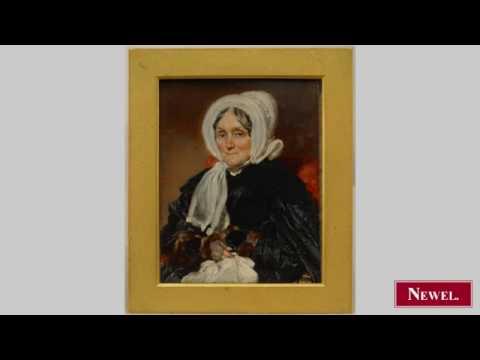 Antique English Victorian miniature oil painting portrait