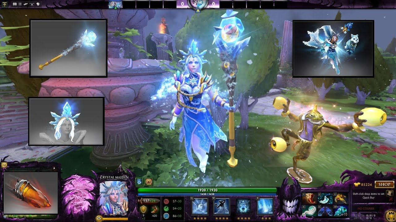 Dota 2 Crystal Maiden Mix Set Arcana Icy Shawl And Wolf Pup White