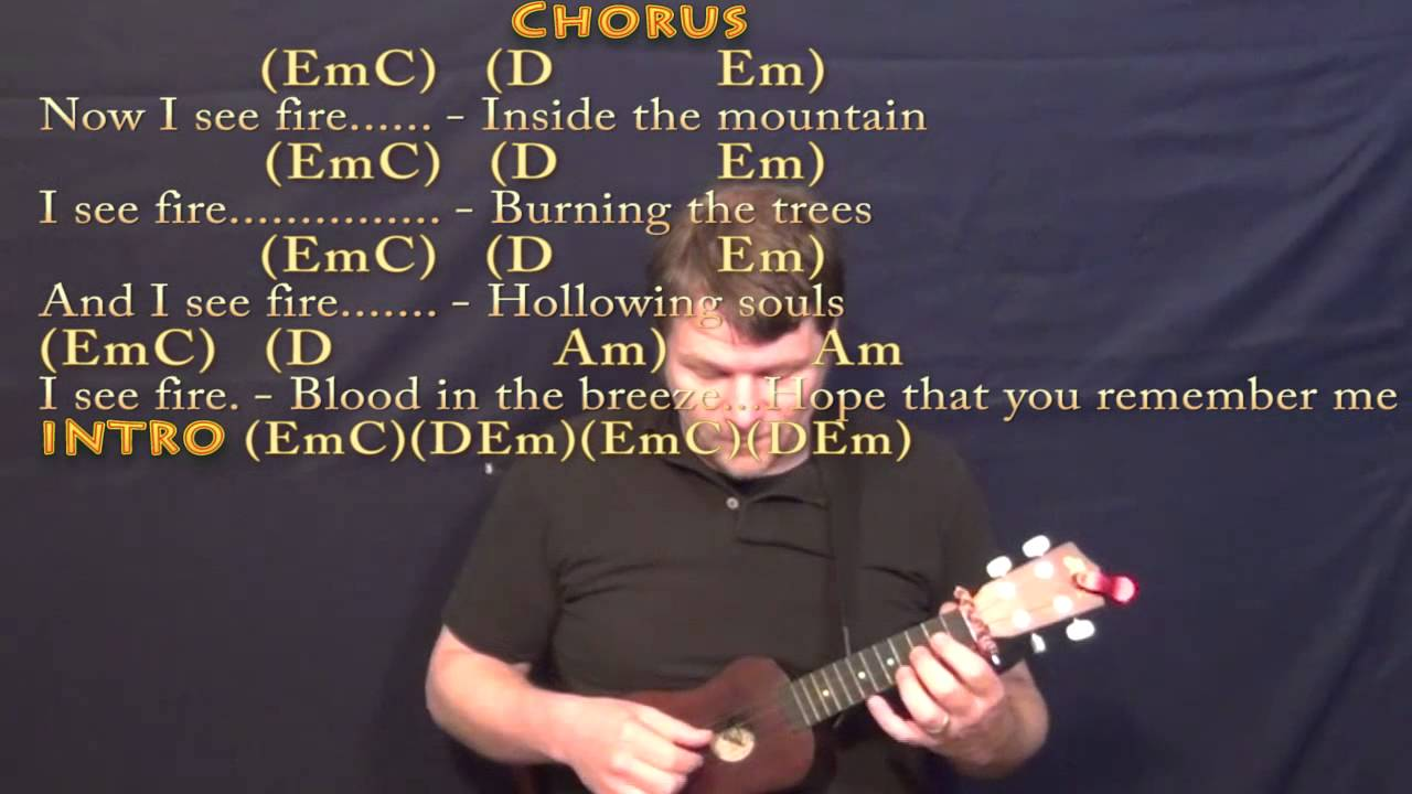 I see fire ukulele cover lesson in em with chordslyrics youtube i see fire ukulele cover lesson in em with chordslyrics hexwebz Images