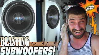 "BIG SUBWOOFERS in a SMALL CAR w/ 2 18"" Subs Flexing on 10,000 Watts... POWERFUL BASS SONGS!!!"