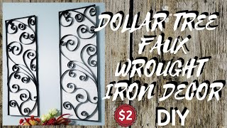 Diy Dollar Tree Faux Wrought Iron Wall Decor || Only $2 To Make!
