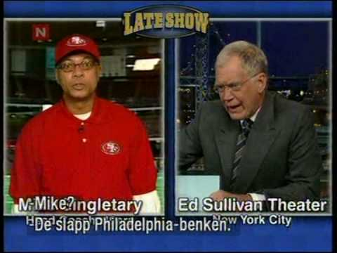 Mike Singletary in a intervju with David Letterman Giants / Eagles game